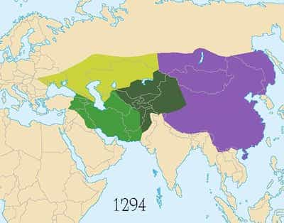 Map of divided mongol empire