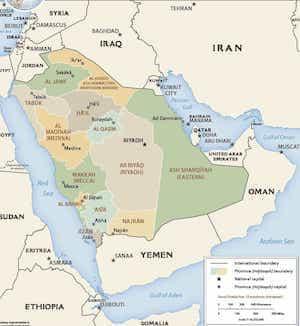 Map of Modern Day Saudi Arabia