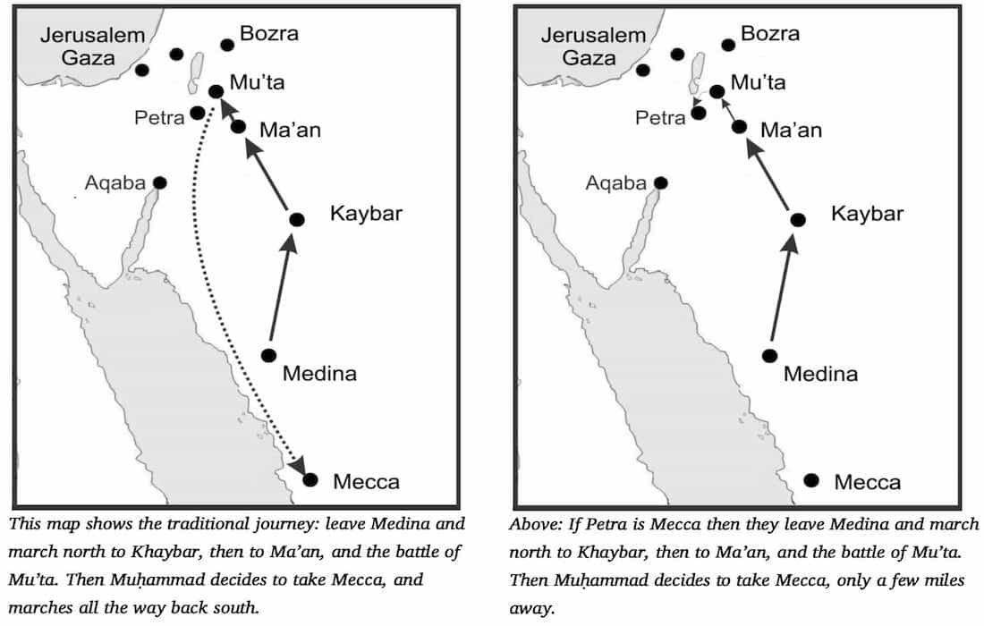 Map showing journey of Prophet for Mecca Conquest