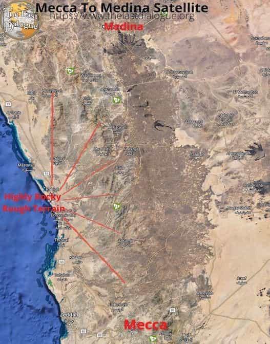 Mecca To Medina Satellite Image Showing Terrain & Route